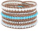 Chan Luu Semi Precious White Blue And Silver Neutral Multi Wrap On Beige Leather Bracelet
