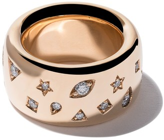 Pomellato 18kt rose gold Iconica wide band diamond ring