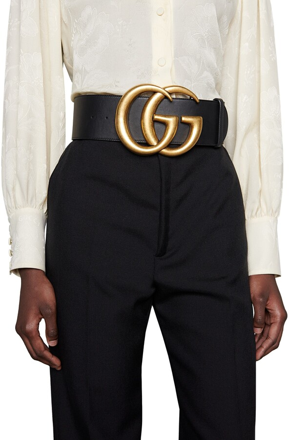 Thumbnail for your product : Gucci Wide leather belt with DoubleG