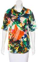 Chris Benz Silk Abstract Print Top