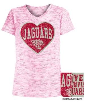 5th & Ocean Big Girls Jacksonville Jaguars Heart Flip Sequin T-Shirt