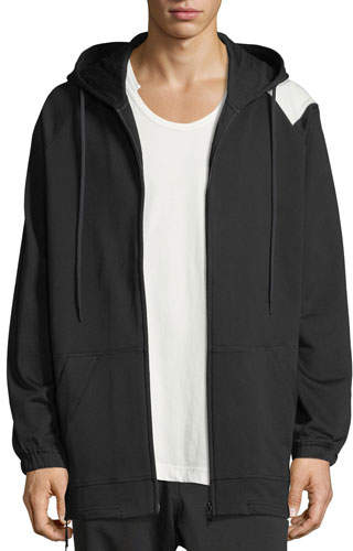 Y-3 Bold Striped Zip-Front Hoodie