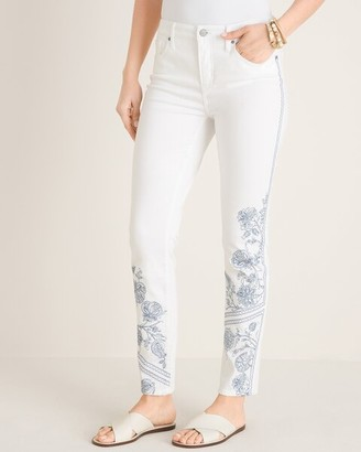 So Slimming No-Stain Embroidered Girlfriend Ankle Jeans
