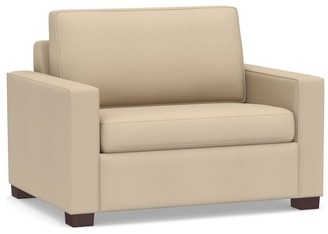 Pottery Barn Cameron Square Arm Upholstered Twin Sleeper Sofa with Air Topper