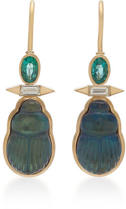 Lito Emerald, Diamond, And Labradorite Scarab Earrings