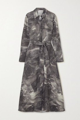 BITE Studios - Belted Printed Crepe De Chine Shirt Dress - Anthracite