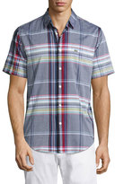 Lacoste Short-Sleeve Resort Plaid Oxford Shirt, White/Multicolor