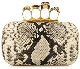 Alexander McQueen snakeskin effect four ring box clutch