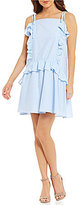 Moon River Ruffle Hem Striped Poplin Drop Waist Dress