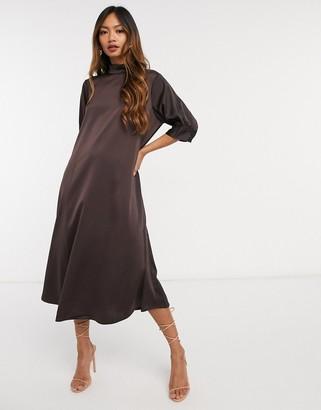 Vero Moda Aware satin midi dress with high neck in chocolate