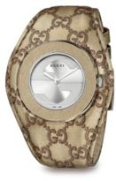 Gucci Stainless Steel and Leather Strap Watch