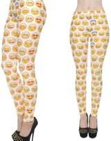 Qiyuxow Slim Emoji Print Pants Yoga Pants Sports Fitness Elastic Stretch Leggings