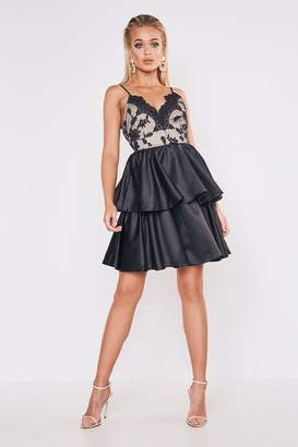 boohoo Premium Lace Back Detail Tiered Skater Dress