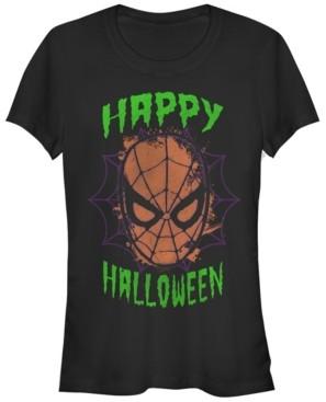 Fifth Sun Marvel Women's Spider-Man Mask Happy Halloween Short Sleeve Tee Shirt