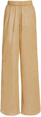 Oseree Lumiere Stretch-Lurex Straight-Leg Pants