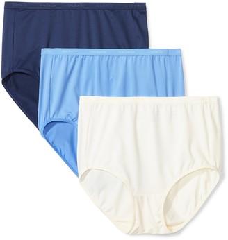 Arabella Women's Plus Size Microfiber Brief Panty 3 Pack