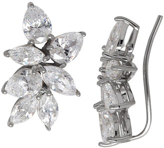 Overstock Starburst Ear Crawlers with Swarovski Zirconia in Sterling Silver - White