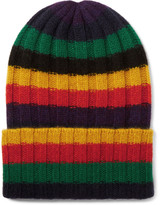 The Elder Statesman - Striped Ribbed Cashmere Beanie