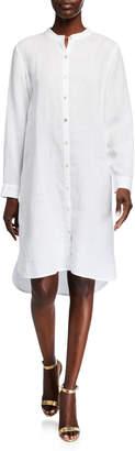 Eileen Fisher Mandarin Collar Long-Sleeve Organic Linen Shirtdress
