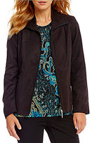 Allison Daley Zip-Front Lined Faux Suede Jacket