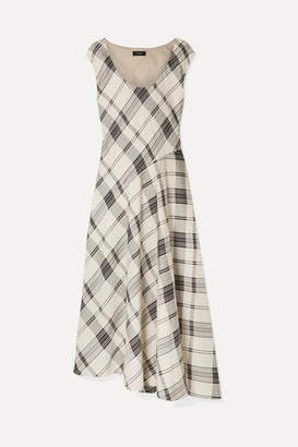 Theory Tango Asymmetric Checked Jacquard Maxi Dress - Ivory