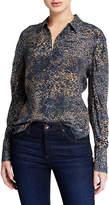 Kobi Halperin Ori Animal-Print Button-Down Long-Sleeve Silk Blouse