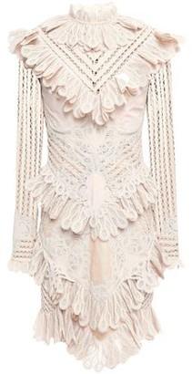 Zimmermann Unbridled Battenburg Ruffled Ramie-blend Macrame Lace Mini Dress