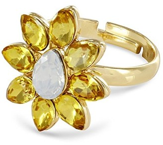 Johnny Loves Rosie Women Yellow Gold Plated Glass Ring