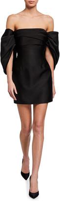 SOLACE London Elina Shirred Off-Shoulder Cocktail Dress