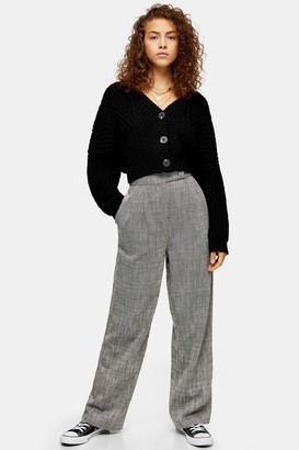 Topshop Womens Salt And Pepper Wide Leg Trousers - Monochrome