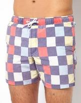 Asos Swim Shorts With Check Print