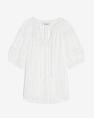 Express Semi-Sheer Striped V-Neck Top
