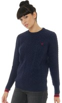Fred Perry Womens Tipped Cable Knit Sweater Dark Carbon