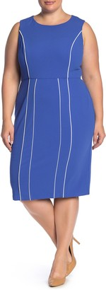 Donna Morgan Piped Stretch Crepe Sheath Dress (Plus Size)