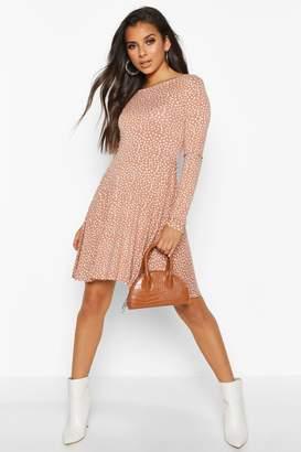 boohoo Scoop Back Polka Dot Skater Dress