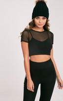 PrettyLittleThing Marita Black Mesh Cropped 2 in 1 T Shirt