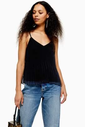 Topshop Womens Petite Black Pleat Camisole Top - Black