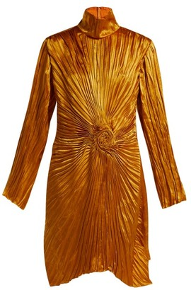 Sies Marjan Ida Pleated Satin Dress - Dark Orange