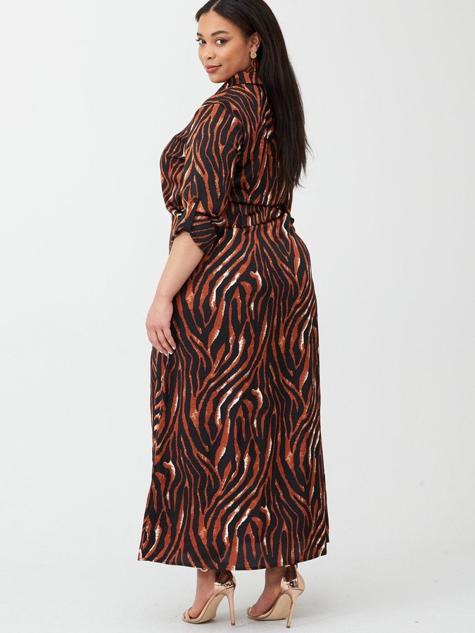 Ax Paris Curve Zebra Printed Maxi Shirt Dress - Print