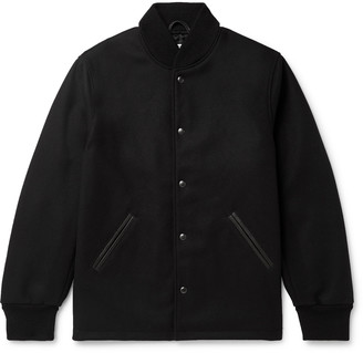 GoldenBear The Westlake Leather-Trimmed Melton Wool-Blend Bomber Jacket