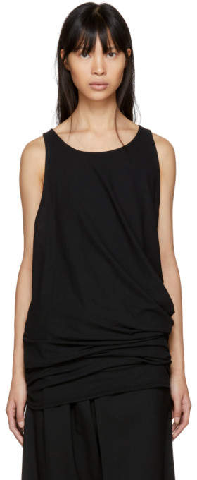 Y's Ys Black Twisted Tank Top