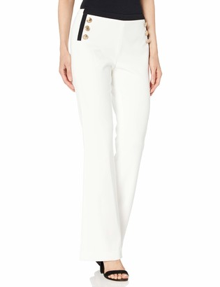Calvin Klein Women's Wide Leg Pant with Contrast and Buttons