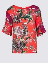 Marks and Spencer Floral Print Round Neck 3⁄4 Sleeve Top