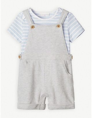 The Little White Company Striped cotton T-shirt and dungaree set 0-12 months