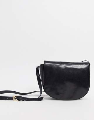 Urban Code Urbancode real leather saddle cross body bag-Black