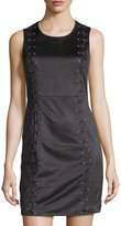 Design History Faux-Suede Lace-Up Dress, Onyx