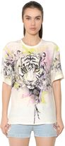 Roberto Cavalli Tiger Printed Silk Satin Top