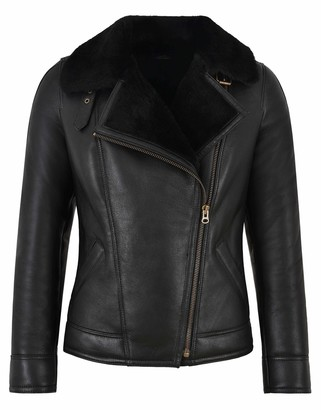 Carrie CH Hoxton Women B3 Sheepskin Jacket RAF Black Fur Real Shearling Bomber Winter Jacket NV64 (8)