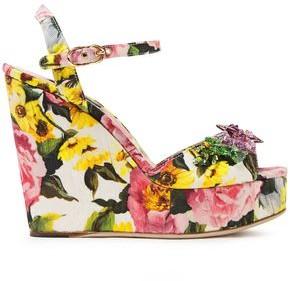 Dolce & Gabbana Crystal-embellished Floral-print Cotton-blend Platform Sandals