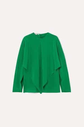 Stella McCartney Asymmetric Silk Crepe De Chine Blouse - Green